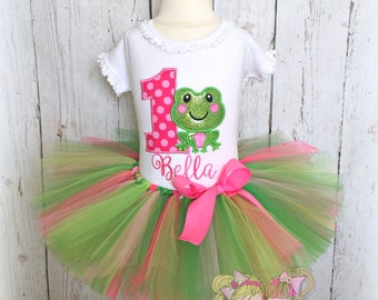 Birthday Frog Tutu Outfit- Froggy Birthday- Custom Birthday outfit- Pink and green