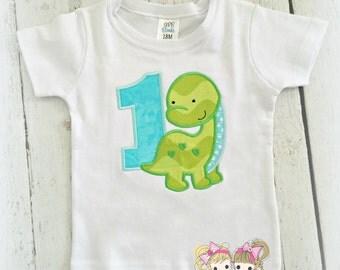 Dinosaur birthday shirt for boys - first birthday dinosaur shirt - dino shirt - green dinosaur shirt - personalized dinosaur birthday shirt