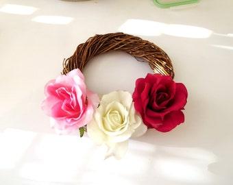 Sunflower wreath , red rose  decoration,  summer Wreath, Front Door Wreath