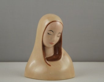 Vintage Ceramic Religious Virgin Mary, Madonna, Mother Mary, Blessed Mother, Our Lady Figurine  Statue