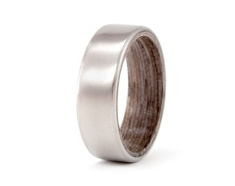 Men's titanium and bentwood ring. Unique wooden matte finishing wedding band. Water resistant, very durable and hypoallergenic. (00510_7N)