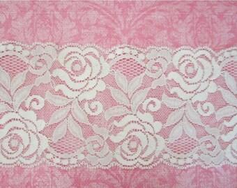 ON SALE Wide Stretch Lace Trim --White -- 3.5  inch -- 1 YARD