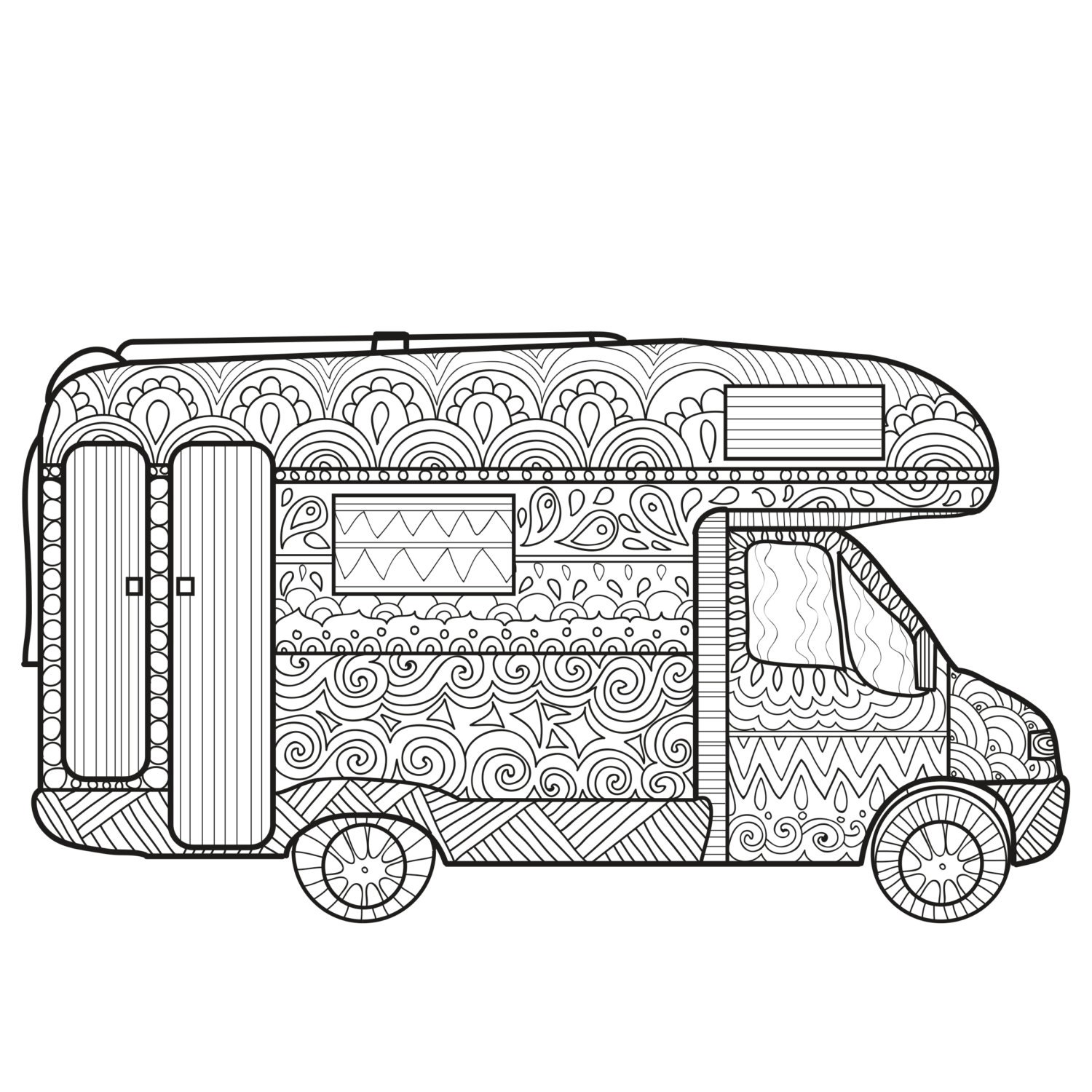 free camper coloring pages - printable coloring page zentangle camping coloring book