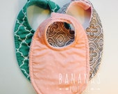 3 Baby Bibs Girls Triple Layer Super Absorbant bibs, you pick the 3  cotton prints and the backing materials