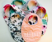 Bibs, Pick 6 baby, toddler, choose 6 Girls cotton prints and the backing material, triple layer moisture blocking design