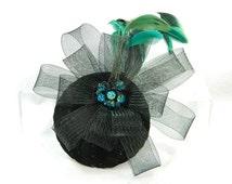 black turquoise glitter Fascinator Headpiece Headdress Kopfschmuck Minihat Gothic Burlesque 50s 50er Pinup Hat bridal formal gown prom
