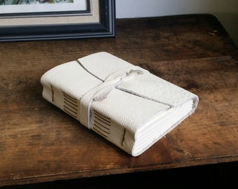 """Leather Journal, 4.5"""" x 6"""" White Leather Journal by the Orange Windmill on Etsy 1616"""