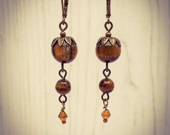 Long Tigers Eye Bronze Gemstone French Hook Earrings [E81]