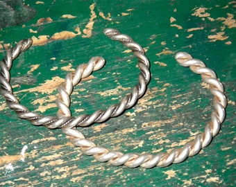 Two Sterling Silver Indian Cuff Bracelets