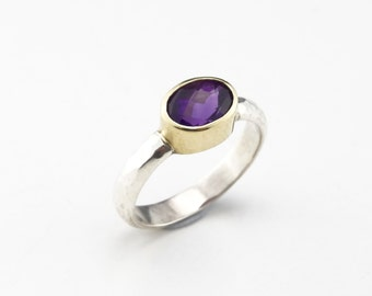 Hammered Amethyst Ring Silver and Gold, Natural Stone Ring, Boho - Sterling Silver (925) 18ct Gold