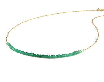 Green Onyx, Roman, Ombre, Natural Stone Beads, Minimalist Necklace, Natural Stone Necklace - 9K Yellow Gold Chain