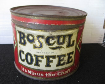 Vintage Boscul  Coffee Tin, 1 lb Coffee Can, Key wind, Butler graphics