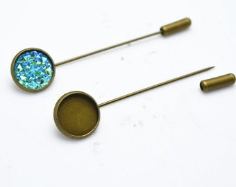 10pcs Antique Bronze Brass Brass Stick Pin Lapel Pin Clutch Broach Blanks 60mm Long With 18mm Base Setting LB502-3