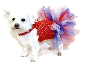 Patriotic Dog Tutu-Patriotic Dog Dress-Red White and Blue Dog Dress-Red White and Blue Dot Tutu-Dog Costume-Costumes for Dogs-Dog Dresses