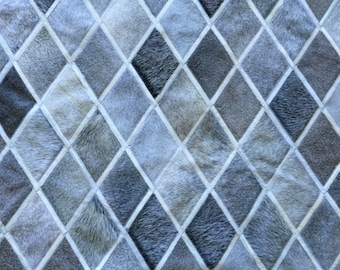 LIFESTYLE by Cara  --  Grey White Custom Cowhide Patchwork Rug Cow Hide Leather Hairhide Carpet