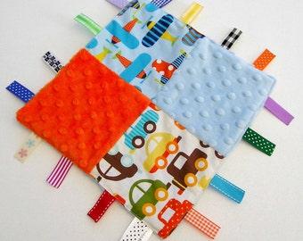 Baby Taggie, Baby Taggy, Boy's Taggie, Boy's Taggy, Lovey, Lovie, Minky Dot Ribbon Blanket, Comforter - Patchwork Cars Airplanes Aeroplanes