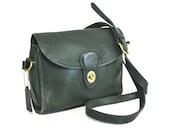 Vintage COACH Classic Bag -  Leather Turnlock Flap Bag in Dark Green