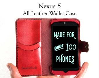 Nexus 5 Leather Wallet Case - No Plastic - Free Inscription