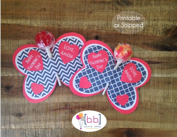 Butterfly Lollipop Personalized Valentine's Day Cards (Navy & Red)- Printable or Shipped