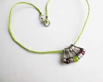 Recycled Bicycle Chain Link Necklace with Purple and Green Beads on Acid Green Cord, Upcycled Jewelry , Statement