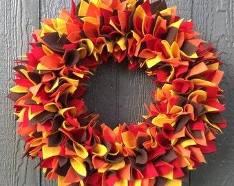 ON SALE Ready to Ship Wreath - Fall Wreath - Multicolor Wreath - Felt Wreath - Rag Wreath - Large Wreath - Halloween Wreath - Thanksgiving W