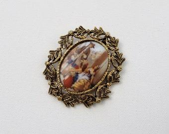 Vintage Porcelain Portrait Pendant - Brass Filigree Cameo Pendant Necklace Charm