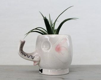Vintage Ceramic Elephant Planter - Vintage Hand Painted Pottery Elephant Planter - Elephant Head Trunks Up