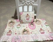 """Dancing Girls 18"""" Doll Blanket with matching pillow"""