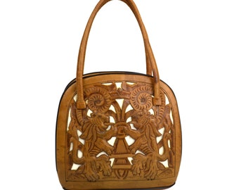 Vintage Tan & White Tooled Leather Handbag Decorated with Aztec Calendar, Cacti, Lions, Roses