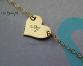 Small heart necklace GOLD FILL heart personalized initial layering necklace, valentines day heart necklace, gold heart, personalized initial
