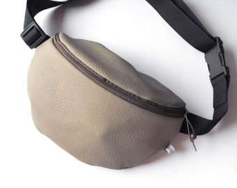 fanny pack/hip bag - khaki, brown and blue LEATHERETTE (medium size)