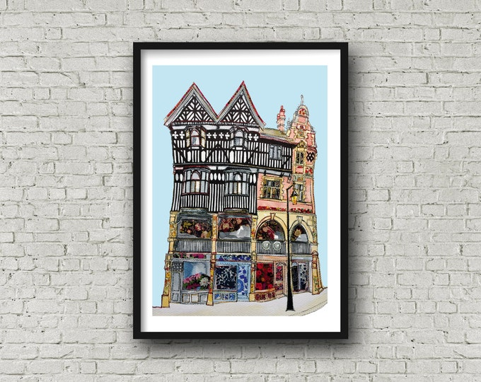 Chester Print - Chester Rows - Chester Image - Chester Art - Cheshire - Chester gift - Original Image
