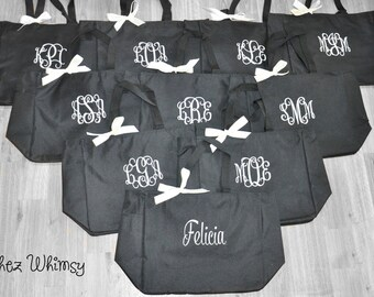 Personalized Totes, 10 Bridesmaid Totes, Wedding Totes, Monogrammed Totes, Wedding Day Totes, Personalized Tote Bags, Bridal Party Tote