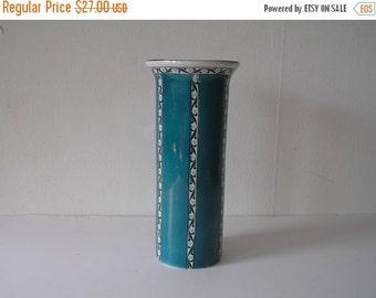 SUMMER SALE English Blue Organic PatternTall Pottery Vase