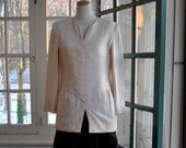 Sculpted White Silk Caroline Herrera Blouse/Vintage 1980s/Plisse Pleated Corset Top/Size Medium