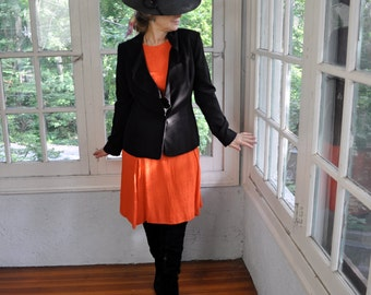 Bright Orange Mid Century Modern Sheath Dress/Vintage 1960s/Nubby Silk Day Dress/Sleeveless Pleated Skirt/Alison Ayres/Size Medium Large
