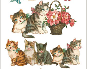 Victorian classic Cat Sticker Package - 2 sheets - from Violette Stickers