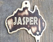 Australia Dog Tag , Home State Pet ID Tag , Etched Brass Dog Tag, Australia Brass Etched Dog Tag