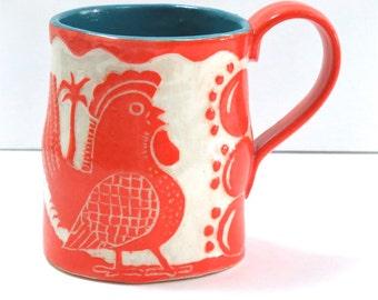Art Pottery SGRAFFITO MUG with Big CHICKEN, Coffee Tea Cup Mug, Cabin Palm Trees, Personalize Color, Folk Art Ceramic Carved Design