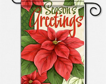 Season's Greetings Poinsettia Garden Flag to welcome guests and celebrate the season.