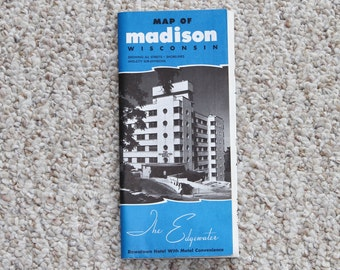 Madison Wisconsin Map - Vintage 1970's Fold-out Map - The Edgewater Hotel Map