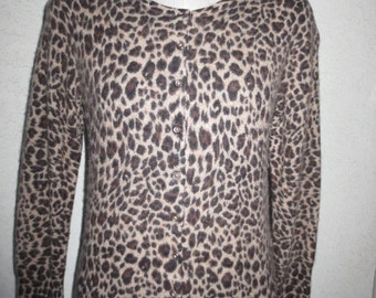 vintage 100%cashmere cardigan sweater made by apt.9  size large color lepard