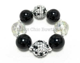 Girls Black, Silver and Clear Confetti Bling Chunky bracelet, Princess bracelet, Monochrome bracelet, Black and silver bracelet