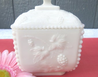 White Milk Glass Beaded Grape Panel Compote Jar,  Lidded Square Puff Box, Wedding Candy Dish/Paneled Grape Trinket Dish