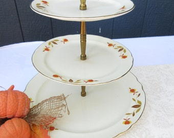 Perfect Original 1930's Hall Autumn Leaf 3 Tiered Dessert Stand/Fall Tidbit Plate/Tiered Thanksgiving Cookie Plate/ Autumn Tiered Cake Stand