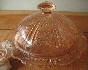 Pink Jeanette Glass Cherry Blossom Butter Dish/Pink Butter Dish/Pink Depression Glass