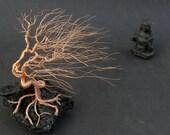 Windswept Wire Sculpture Bonsai Gem Tree on Natural Lanzarote Lava Stone