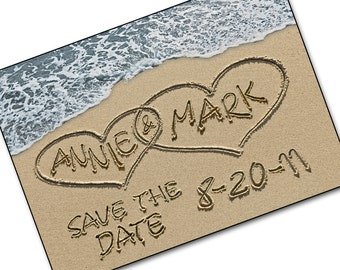 Save The Date Cards - Personalized Names and Date - Casual Wedding Invite - Save-the-Date Beach Destination Wedding Photo cards SAND HEARTS