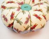 Dragonfly Pincushion, Round Pincushion, OOAK Round Pincushion, Large Pincushion, Decorative Pins Included