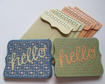 Hello blank note card, set of 6